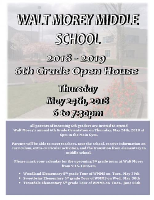 Invitation to Walt Morey Middle School Open House for 20182019